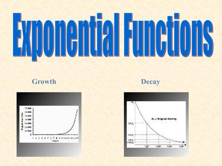 GrowthDecay. 8.2 Exponential Decay Goal 1: I will graph exponential decay functions. Goal 2: I will use exponential decay functions to model real-life.