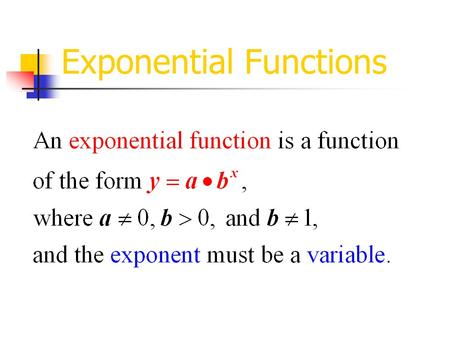 Exponential Functions. Our presentation today will consists of two sections. Our presentation today will consists of two sections. Section 1: Exploration.