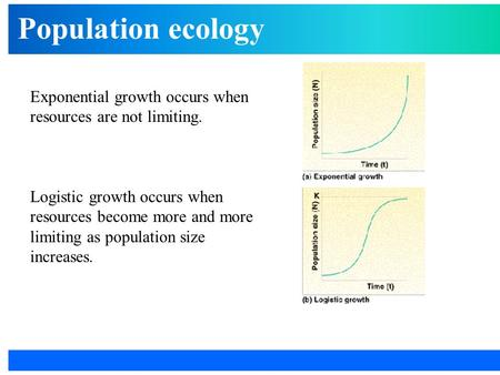Population ecology Exponential growth occurs when resources are not limiting. Logistic growth occurs when resources become more and more limiting as population.