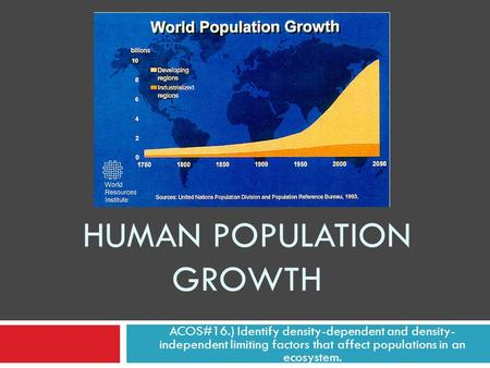 HUMAN POPULATION GROWTH ACOS#16.) Identify density-dependent and density- independent limiting factors that affect populations in an ecosystem.