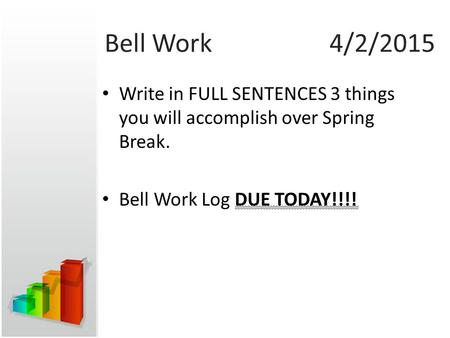 Bell Work4/2/2015 Write in FULL SENTENCES 3 things you will accomplish over Spring Break. Bell Work Log DUE TODAY!!!!