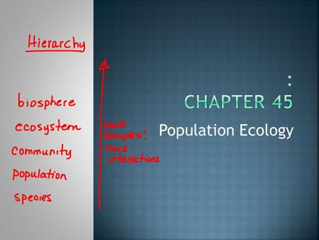 Population Ecology.  A group of individuals of the same species occupying a given area  Can be described by demographics  Vital statistics such as.