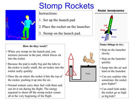 Stomp Rockets Instructions: 1. Set up the launch pad. 2.Place the rocket on the launcher. 3. Stomp on the launch pad. How do they work? When you stomp.