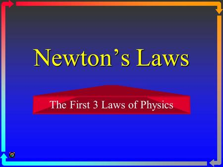 Newton's Laws The First 3 Laws of Physics I. Law #1 1.a base ball being pitched, then hitting ground 2. Question:When we jump straight up, why do we.