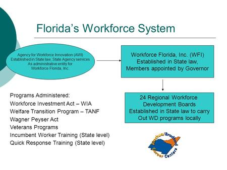 Florida's Workforce System Workforce Florida, Inc. (WFI) Established in State law, Members appointed by Governor Agency for Workforce Innovation (AWI)