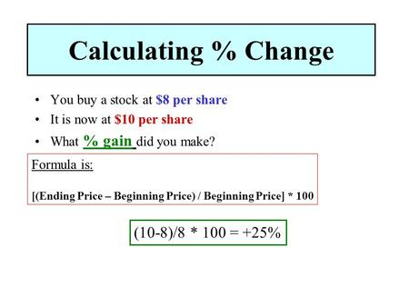 Calculating % Change You buy a stock at $8 per share It is now at $10 per share What % gain did you make? Formula is: [(Ending Price – Beginning Price)