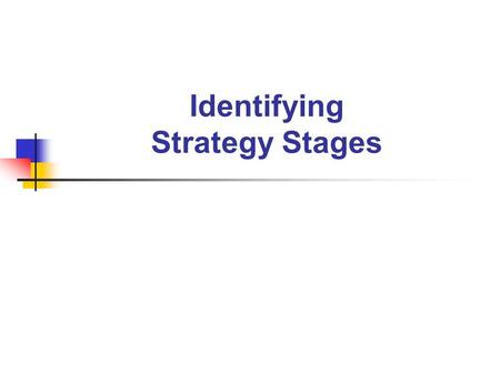 Identifying Strategy Stages. Stage 0 :- Emergent The student has no reliable strategy to count an unstructured collection of items.
