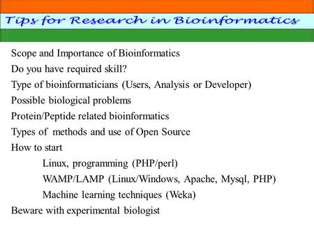 Tips for Research in Bioinformatics