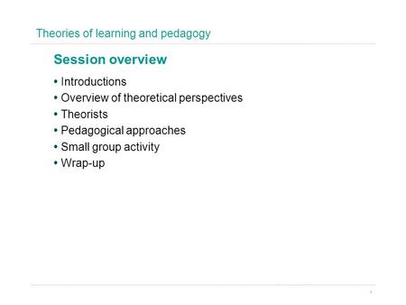 Theories of learning and pedagogy 1 Introductions Overview of theoretical perspectives Theorists Pedagogical approaches Small group activity Wrap-up Session.