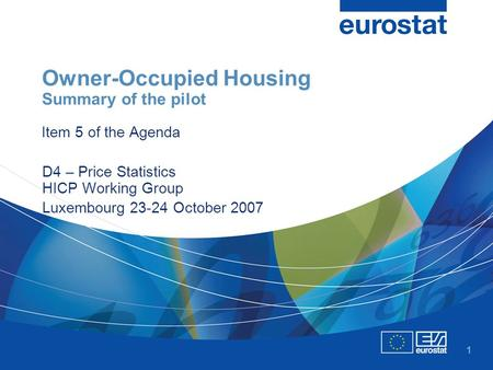 1 Owner-Occupied Housing Summary of the pilot Item 5 of the Agenda D4 – Price Statistics HICP Working Group Luxembourg 23-24 October 2007.