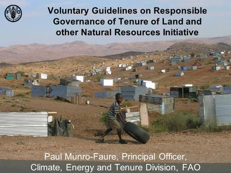 Voluntary Guidelines on Responsible Governance of Tenure of Land and other Natural Resources Initiative Paul Munro-Faure, Principal Officer, Climate, Energy.