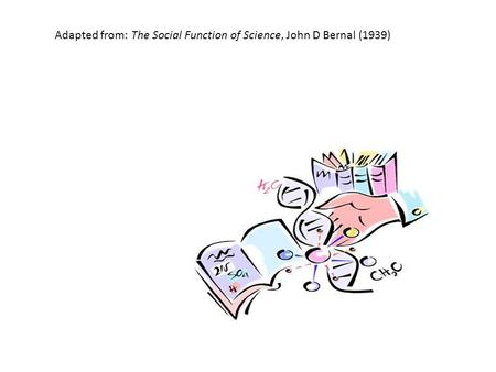 Adapted from: The Social Function of Science, John D Bernal (1939)