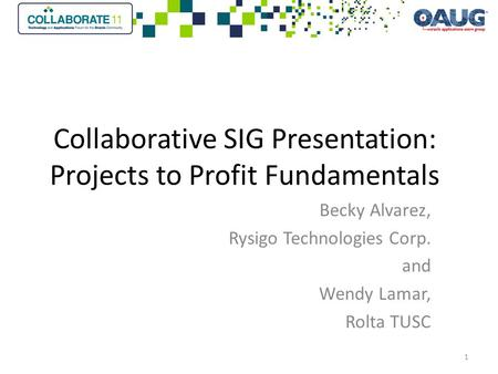 Collaborative SIG Presentation: Projects to Profit Fundamentals Becky Alvarez, Rysigo Technologies Corp. and Wendy Lamar, Rolta TUSC 1.