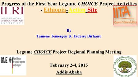 Progress of the First Year Legume CHOICE Project Activities - Ethiopia-Action Site By Tamene Temesgen & Tadesse Birhanu Legume CHOICE Project Regional.