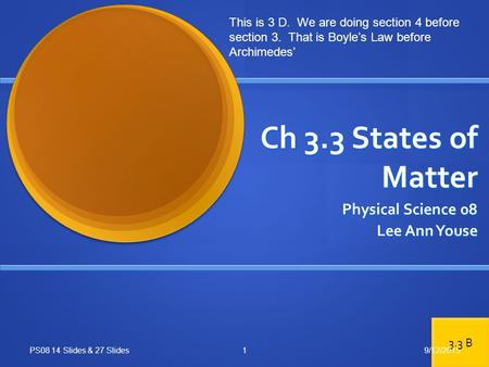 Ch 3.3 States of Matter Physical Science 08 Lee Ann Youse PS08 14 Slides & 27 Slides This is 3 D. We are doing section 4 before section 3. That is Boyle's.