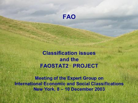 FAO Classification issues and the FAOSTAT2 PROJECT Meeting of the Expert Group on International Economic and Social Classifications New York, 8 – 10 December.