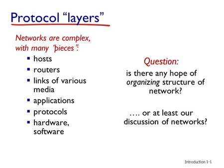 "Introduction Protocol ""layers"" Networks are complex, with many ""pieces"":  hosts  routers  links of various media  applications  protocols  hardware,"