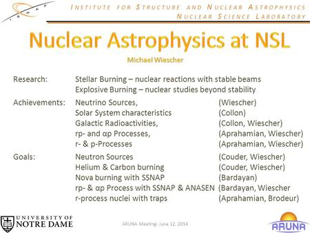 I NSTITUTE FOR S TRUCTURE AND N UCLEAR A STROPHYSICS N UCLEAR S CIENCE L ABORATORY Research:Stellar Burning – nuclear reactions with stable beams Explosive.