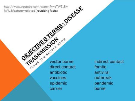 OBJECTIVE 6 TERMS : DISEASE TRASNMISSION TERMS YOU SHOULD KNOW  MAU&feature=relatedhttp://www.youtube.com/watch?v=zTWZtElv.