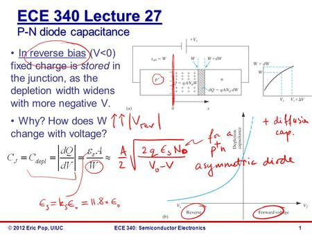 ECE 340 Lecture 27 P-N diode capacitance