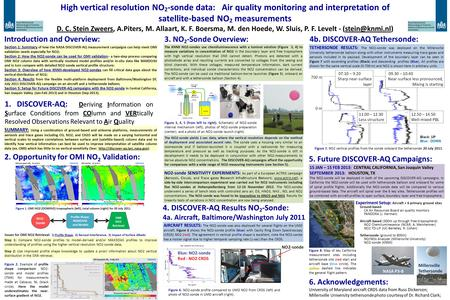 High vertical resolution NO 2 -sonde data: Air quality monitoring and interpretation of satellite-based NO 2 measurements D. C. Stein Zweers, A.Piters,