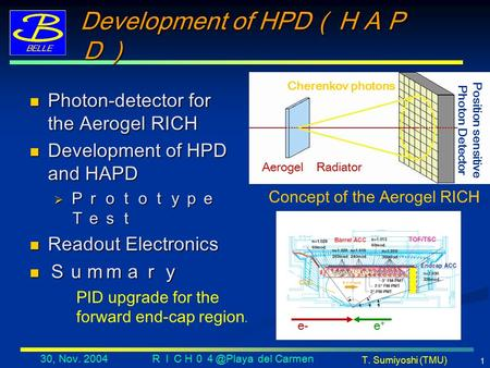 T. Sumiyoshi (TMU) 30, Nov. 2004 del Carmen 1 Development of HPD (HAP D) Photon-detector for the Aerogel RICH Photon-detector for the Aerogel.