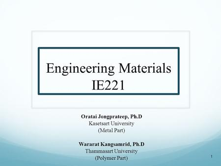 Engineering Materials IE221