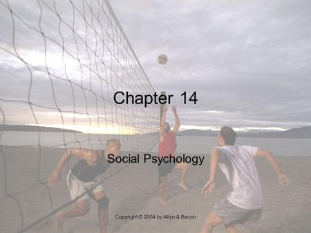 Copyright © 2004 by Allyn & Bacon Chapter 14 Social Psychology.