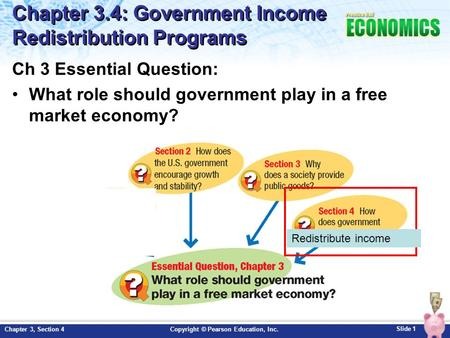 Slide 1 Copyright © Pearson Education, Inc.Chapter 3, Section 4 Chapter 3.4: Government Income Redistribution Programs Ch 3 Essential Question: What role.