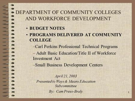 1 DEPARTMENT OF COMMUNITY COLLEGES AND WORKFORCE DEVELOPMENT BUDGET NOTES PROGRAMS DELIVERED AT COMMUNITY COLLEGE –Carl Perkins Professional Technical.