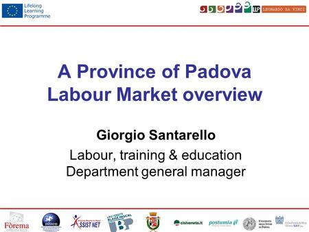 A Province of Padova Labour Market overview Giorgio Santarello Labour, training & education Department general manager.