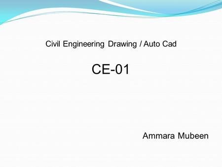 Civil Engineering Drawing / Auto Cad CE-01 Ammara Mubeen.