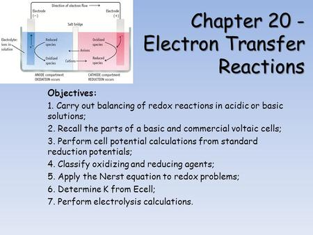 Chapter 20 - Electron Transfer Reactions Objectives: 1. Carry out balancing of redox reactions in acidic or basic solutions; 2. Recall the parts of a basic.