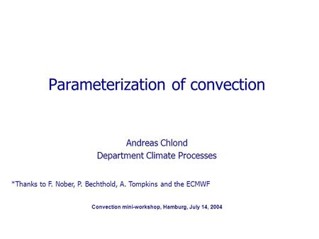 Convection mini-workshop, Hamburg, July 14, 2004 Parameterization of convection Andreas Chlond Department Climate Processes *Thanks to F. Nober, P. Bechthold,