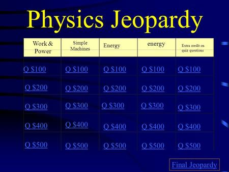 Physics Jeopardy Work & Power Simple Machines Energy energy Extra credit on quiz questions Q $100 Q $200 Q $300 Q $400 Q $500 Q $100 Q $200 Q $300 Q $400.