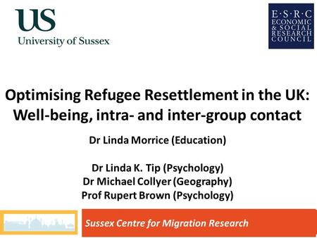 Optimising Refugee Resettlement in the UK: Well-being, intra- and inter-group contact Sussex Centre for Migration Research Dr Linda Morrice (Education)