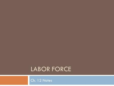 LABOR FORCE Ch. 12 Notes. Labor Force Make-Up  Made up of:  people 16 or older  Civilian  Uninstitutionalized  who want a job or have one  Can be.