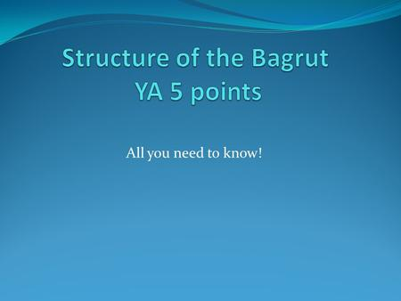 Structure of the Bagrut YA 5 points