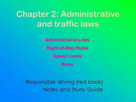 Chapter 2: Administrative and traffic laws