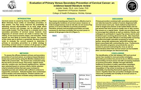Evaluation of Primary Versus Secondary Prevention of Cervical Cancer: an evidence based literature review Jennifer Vestle, PA-S, John Carter, PhD Department.