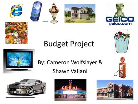 Budget Project By: Cameron Wolfslayer & Shawn Valiani.