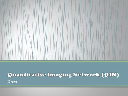 Grants. The mission of the Quantitative Imaging Network (QIN) is to improve the role of quantitative imaging for clinical decision making in oncology.