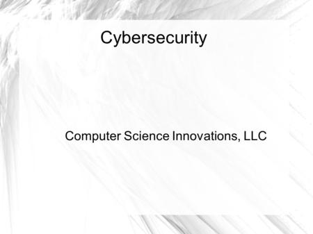 Cybersecurity Computer Science Innovations, LLC. Fingerprinting So, we have a file at the top level of a Web site. It is called robots.txt It specifies.