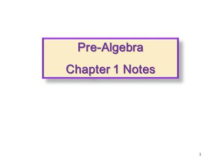 Pre-Algebra Chapter 1 Notes.