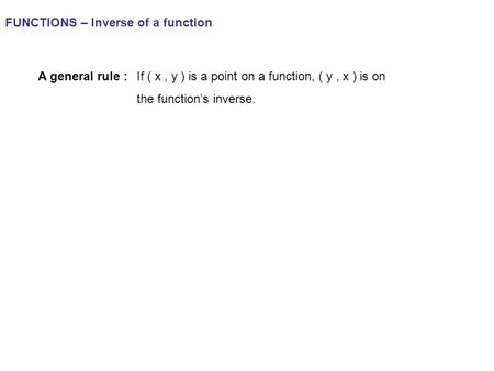 FUNCTIONS – Inverse of a function A general rule :If ( x, y ) is a point on a function, ( y, x ) is on the function's inverse.