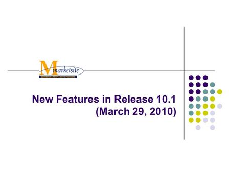 New Features in Release 10.1 (March 29, 2010). 2 Release 10.1 New Features Punch-Out Suppliers Visible in Search Results Filter Search Results by product.