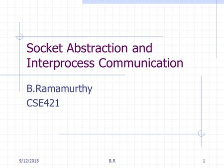 9/12/2015B.R1 Socket Abstraction and Interprocess Communication B.Ramamurthy CSE421.