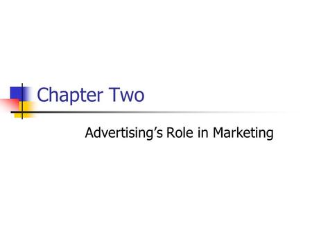 Chapter Two Advertising's Role in Marketing. Prentice Hall, © 2009 2-2 Marketing is considered to be: a) The way a product is advertised among target.
