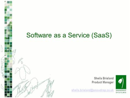 Sheila Brisland Product Manager Software as a Service (SaaS)