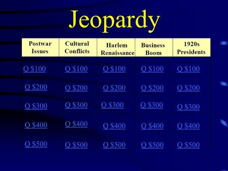 Jeopardy Postwar Issues Cultural Conflicts Harlem Renaissance Business Boom 1920s Presidents Q $100 Q $200 Q $300 Q $400 Q $500 Q $100 Q $200 Q $300 Q.